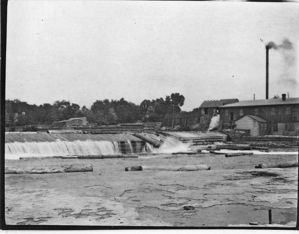 One of Edward Rathbun's novel business strategies was to set up dams along waterways and restrict the spring runoff, so that log driving could continue well into the summer. Photos courtesy Community Archives of Belleville and Hastings County