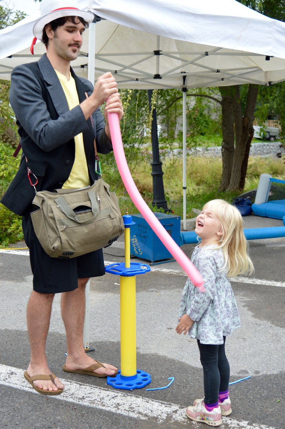 Madeline Cooney of Stirling seems to be enjoying the talents of Christopher The Twistopher at the 2016 Stirling Water Buffalo Festival. The Balloon Sculptor Extraordinaire entertained for hours in the festival's Kidz Zone.