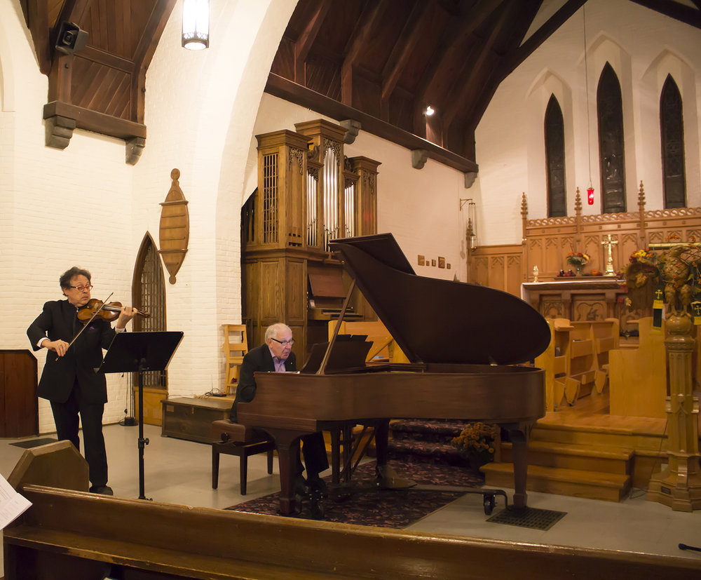 Violinist Atis Bankas and Robert Silverman on piano rehearse in St. John's Anglican Church last October. The historic church will again host the classical music portion of Stirlingfest while Artistic Director Bankas has helped attract an impressive line-up of musicians.