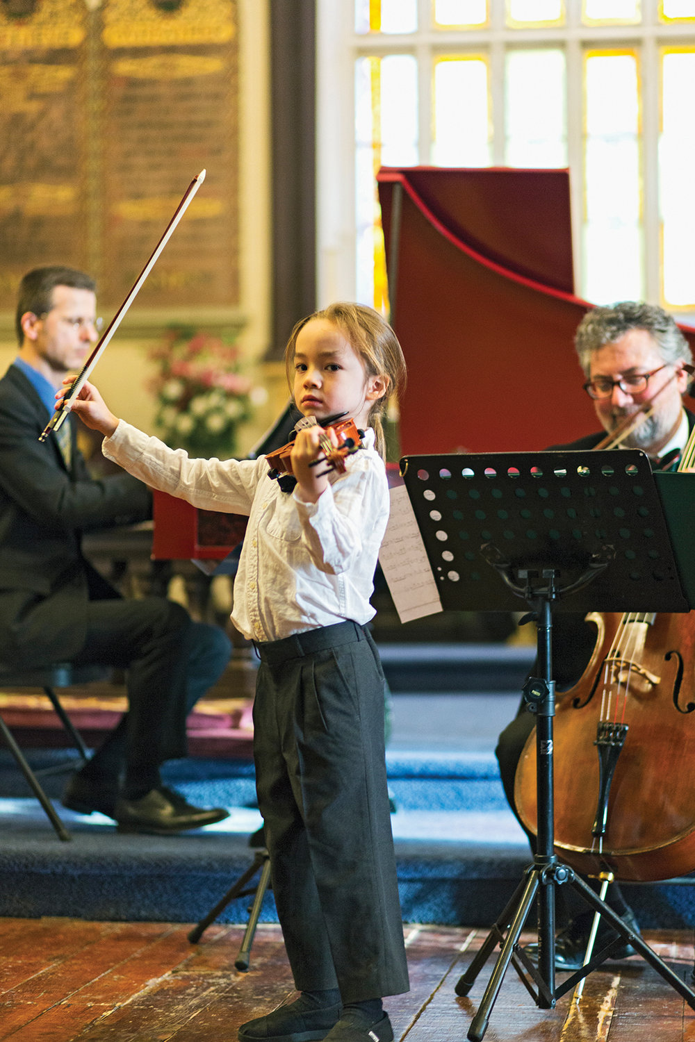 Eight-year-old violinist Sora Sator-Mound will be part of the Friday classical music concert at St. John's Anglican Church.