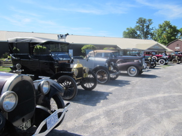These automobiles from an earlier era have been lovingly restored.