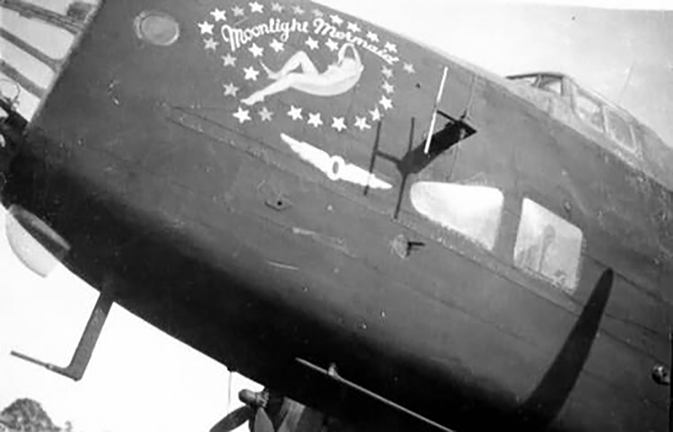 """""""The Bomber Command sent in the late afternoon hours of March 15, 1945 in total 500 aircraft on their way to Germany, around to attack Hagen and the oil refinery in Misburg at Hanover. A total of 267 aircraft, including 134 Lancaster, 122 Halifax and 11 Mosquitos had Hagen as their destination. To this attack unit belonged the bomber """" Moonlight Mermaid ,"""" type Halifax B MKVII with the serial number NP689 and the Identifier QO-M of the 6 Bomber Group, RCAF 432 Squadron. """" Moonlight Mermaid """" took off 17:07 clock (18:07 clock MEZ) from the East Moor airfield. Between 20:30 and 20:45 clock the bombers threw about 1,000 tons of bombs on Hagen. """" Moonlight Mermaid """" crashed shortly before the goal, from 4800m altitude."""" Excerpt and photo courtesy of the Marmora Historical Society."""