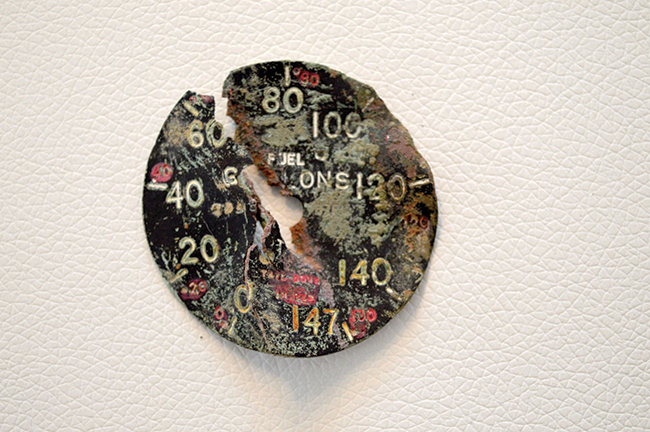 An aerial artifact that held important clues, a 147 gallon fuel gauge. Photo by Sven Polkläser.