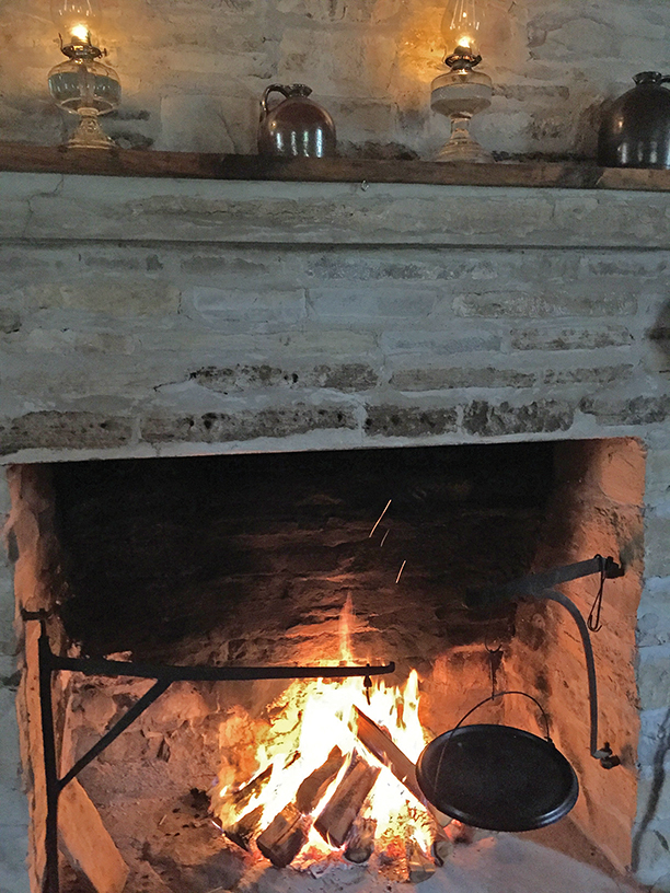 This cooking fireplace was designed and built by Little. Photo courtesy O'Hara Mill Homestead & Conservation Area.
