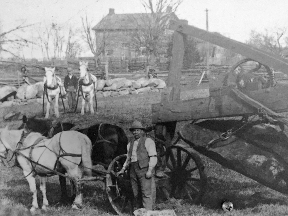 This historical photograph of a stone pulling machine from another era of farm equipment gives pause to reflect on the enormous effort by early settlers to till and plant their fields. Photo courtesy O'Hara Mill Homestead & Conservation Area.
