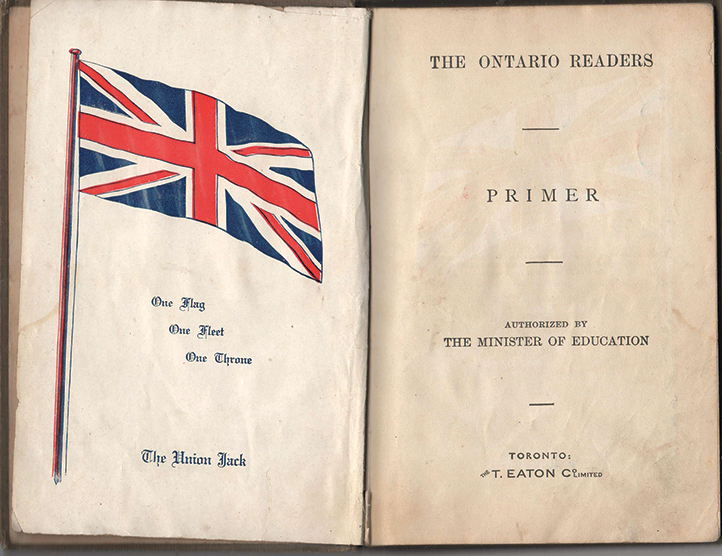 "Facing pages from  The Ontario Readers Primer . The  Primer  was a familiar book that enjoyed prominence in schools across  Ontario  beginning in the early 1900's. The preface simply describes it as ""a reading book with lessons that had long been accepted as attractive to children.""  Penhale Collection."