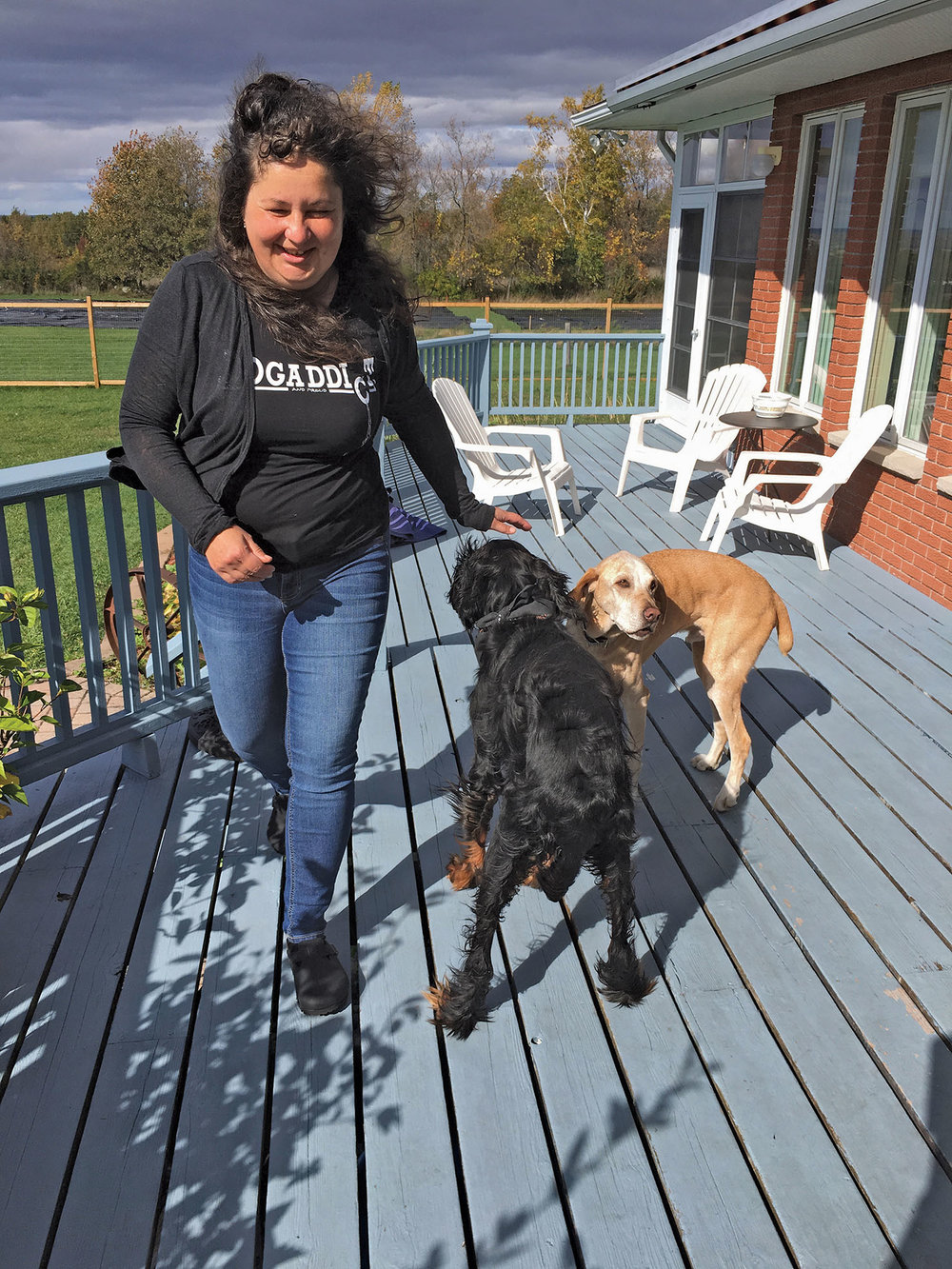 Melinda Fisher with her adopted dogs, Benedetto and Tibor. Photo by Teddy Ryan
