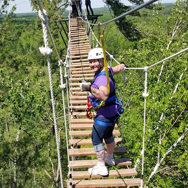 I give Brainerd Zip Line Tour one thumb up but that's only because the other thumb is holding on for dear life!  #nisswa #brainerdlakesarea #brainerdziplinetours #lakesproud #brainerd #breezypoint #maddens #craguns #grandviewlodge