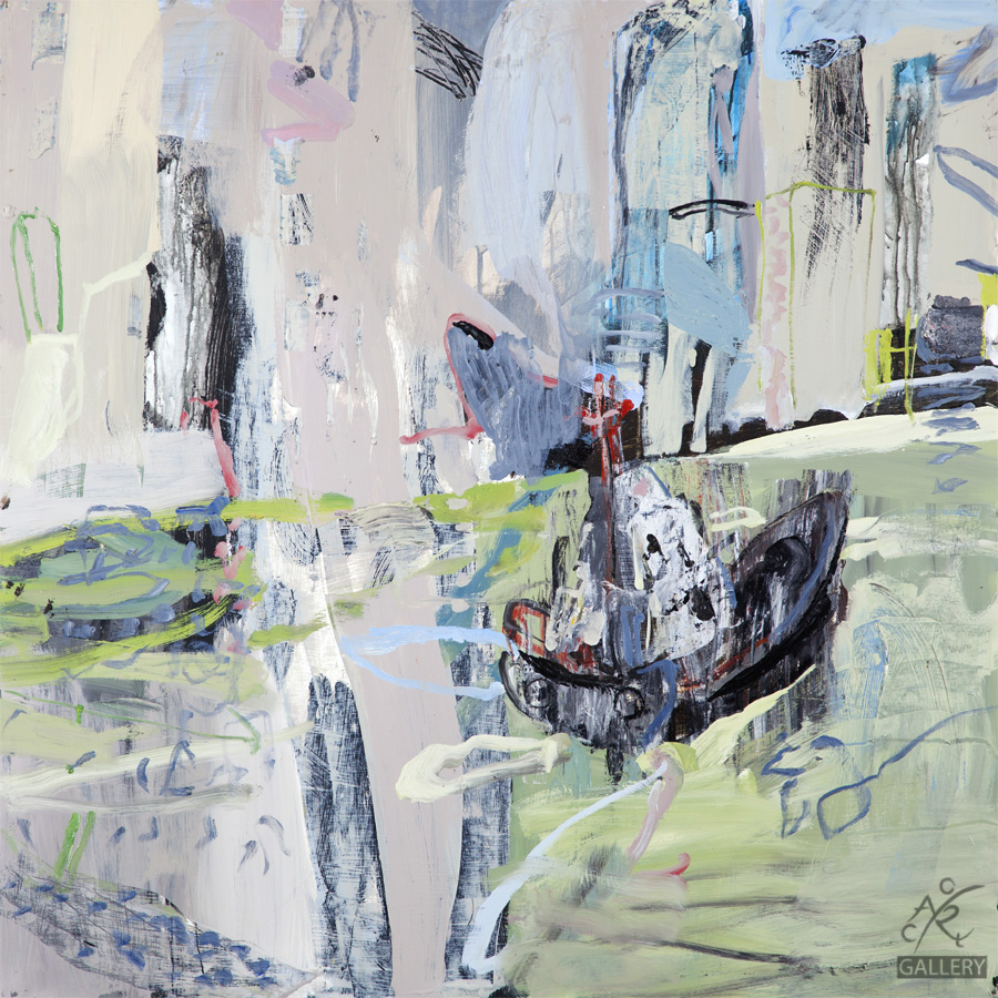 Tug on HK Harbour, 2015 Luke Sciberras, Oil on Board, 120cm x 120cm