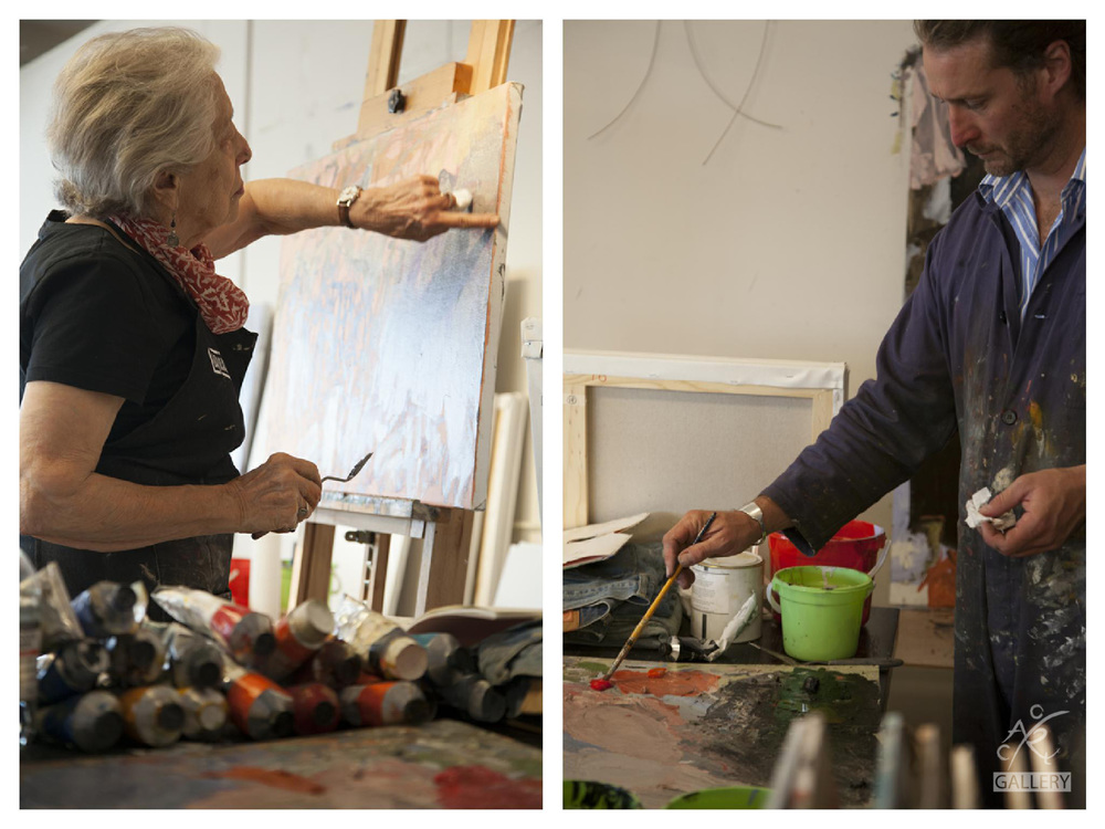 Elisabeth and Luke working in Michael's studio at Wong Chuk Hang