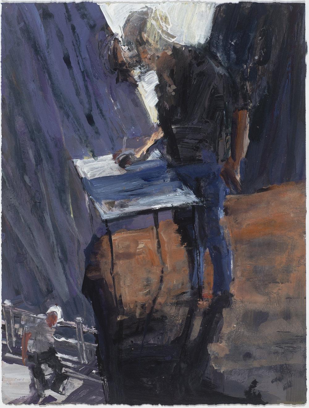 Painter Study YM  畫家考察黃山   Euan Macleod , 2016  Acrylic on paper, 66 x 50 cm, HKD 19,300 framed