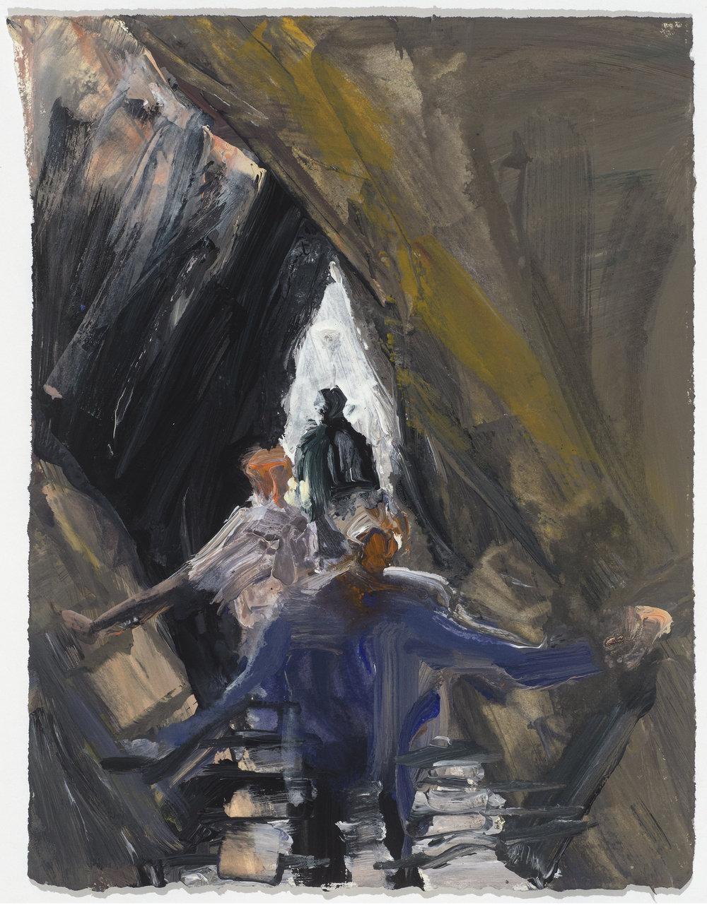 Stairs/Diamond 10/16  鑽型樓梯10/16   Euan Macleod , 2016  Acrylic on paper, 33 x 25 cm, HKD 8,000 framed