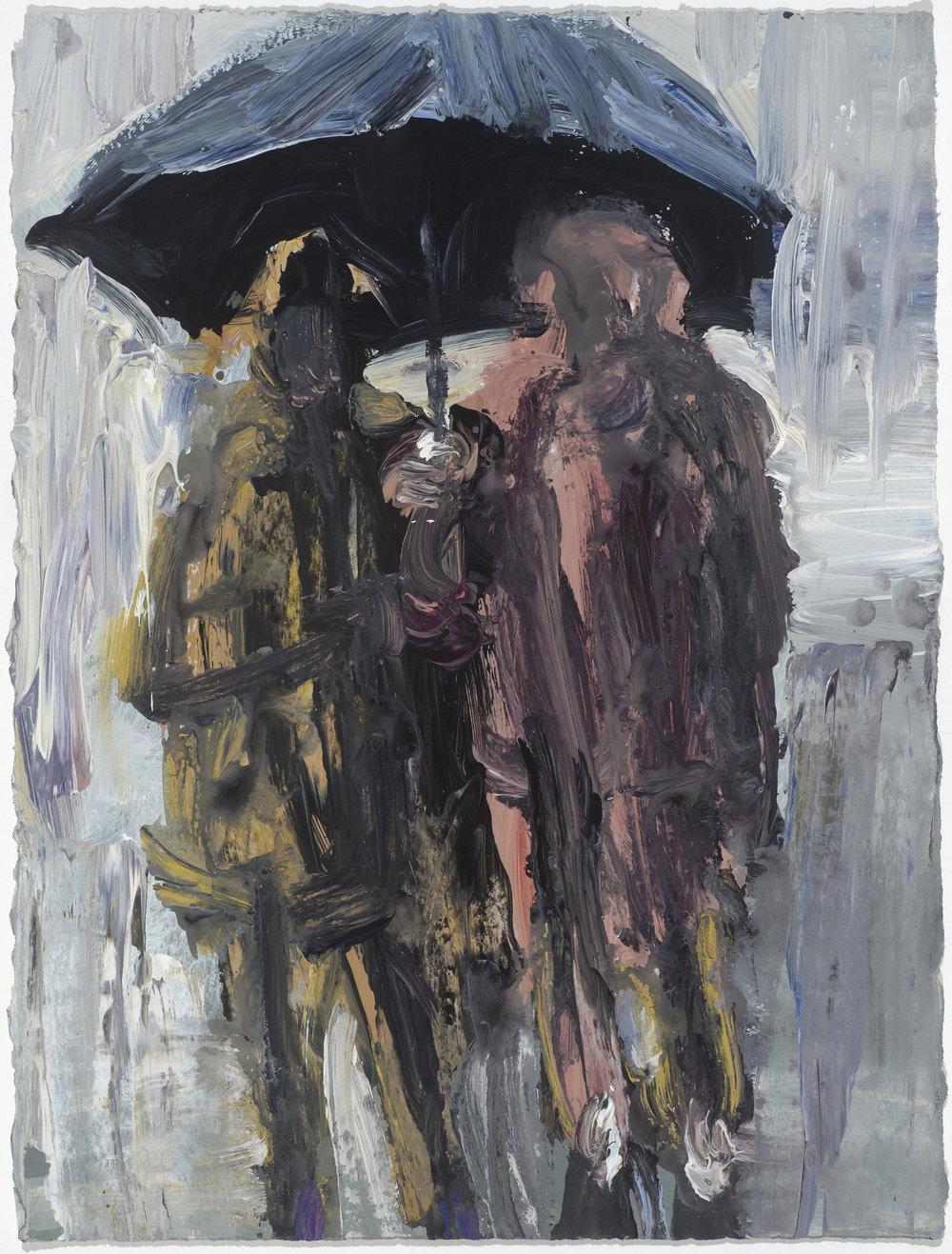 2 Under umbrella 10/16  傘下的兩人10/16   Euan Macleod , 2016  Acrylic on paper, 38 x 29 cm, HKD 9,800 framed