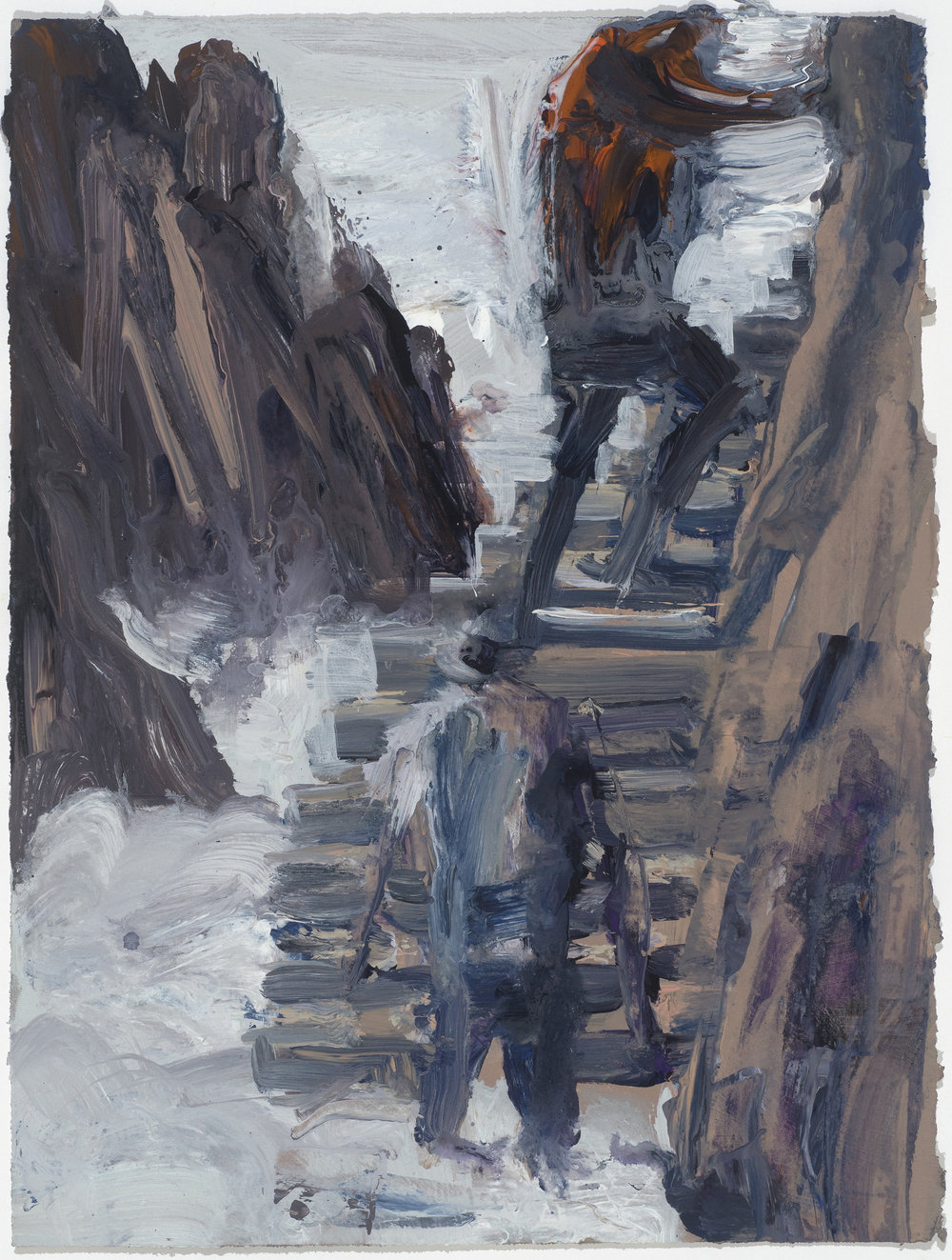 Stairs & mist study  樓梯與霧考察10/16   Euan Macleod , 2016  Acrylic on paper, 38 x 29 cm, HKD 9,800 framed