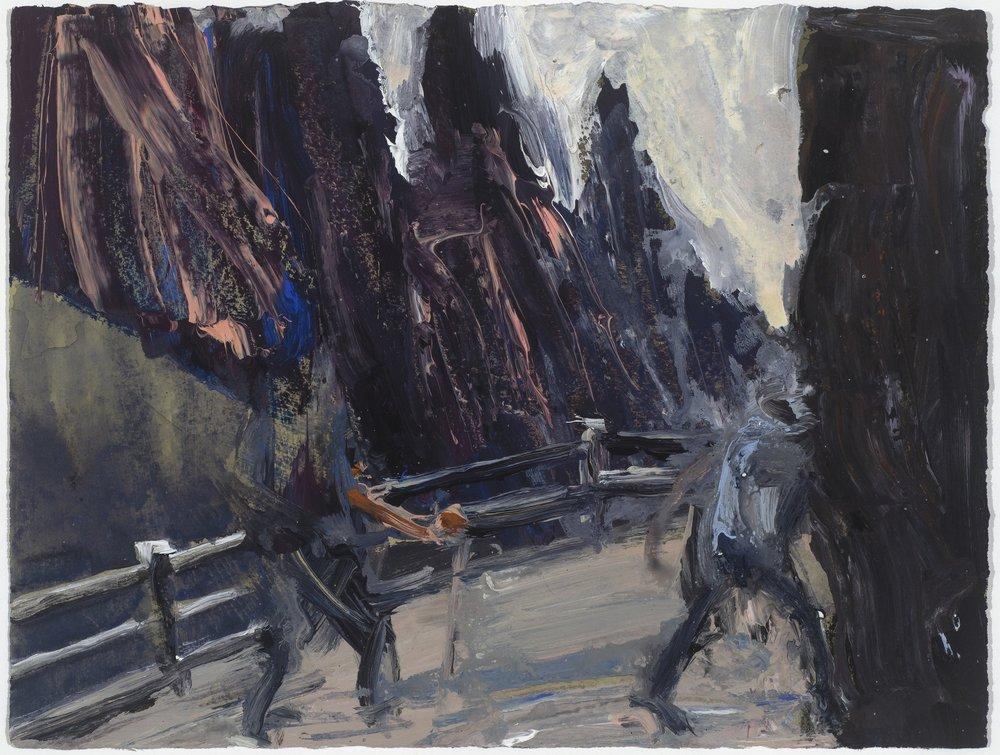 2 figures on path 10/16  兩人在路上10/16   Euan Macleod , 2016  Acrylic on paper, 29x 38 cm, HKD 9,800 framed