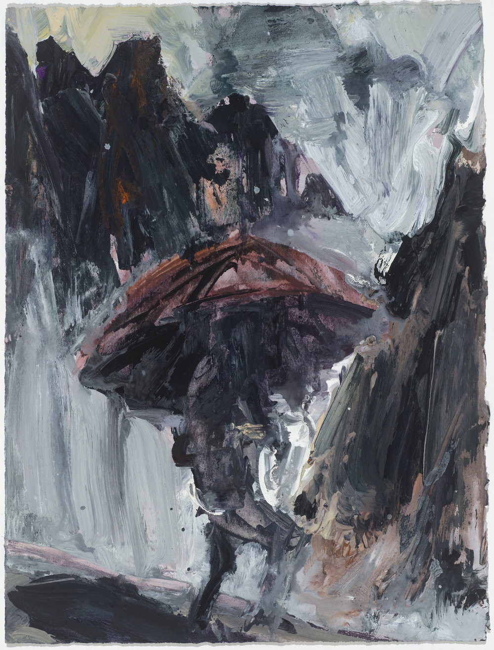 Red umbrella 10/16  紅傘10/16   Euan Macleod , 2016  Acrylic on paper, 40 x 30 cm, HKD 9,800 framed