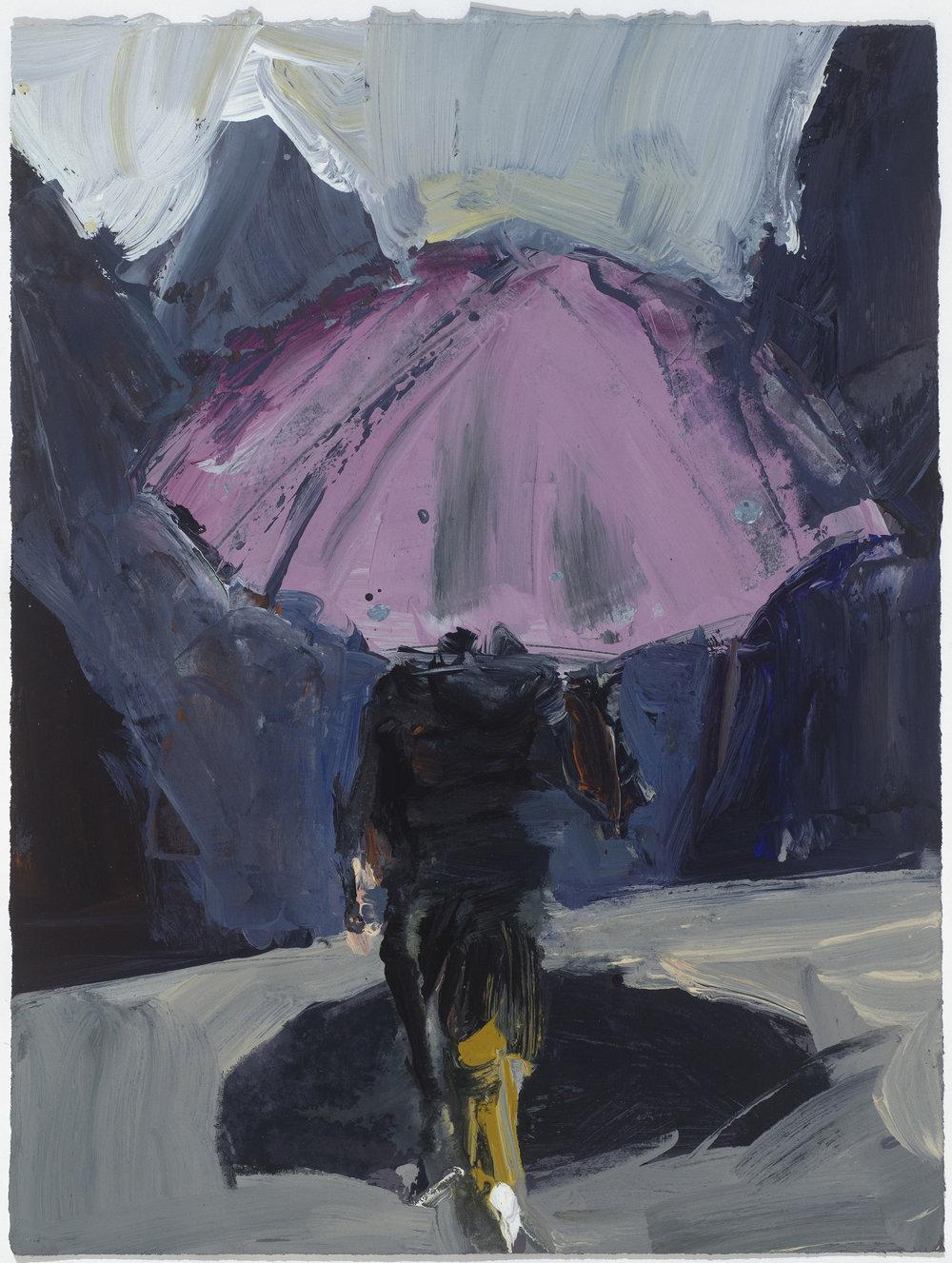Pink umbrella 10/16  粉紅的傘10/16   Euan Macleod , 2016  Acrylic on paper, 40 x 30 cm, HKD 9,800 framed