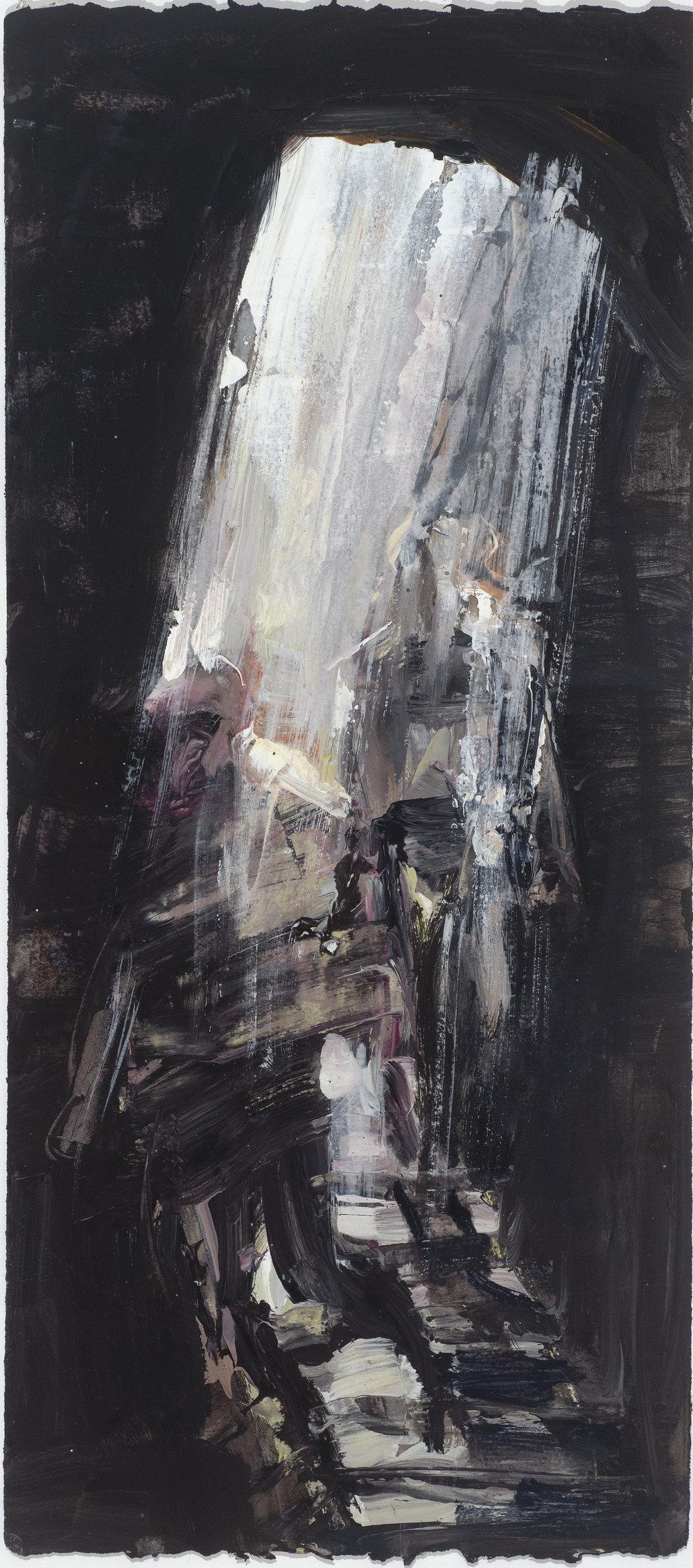 Tall cave study 10/16  高峭的洞穴考察10/16   Euan Macleod , 2016  Acrylic on paper, 57 x 25 cm, HKD 11,300 framed