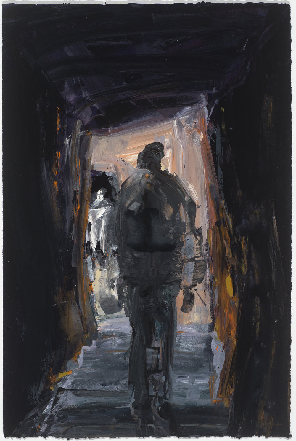 Cave study (Central light) 10/16  樓梯考察(點亮)10/16   Euan Macleod , 2016  Acrylic on paper, 58 x 38 cm, HKD 14,800 framed