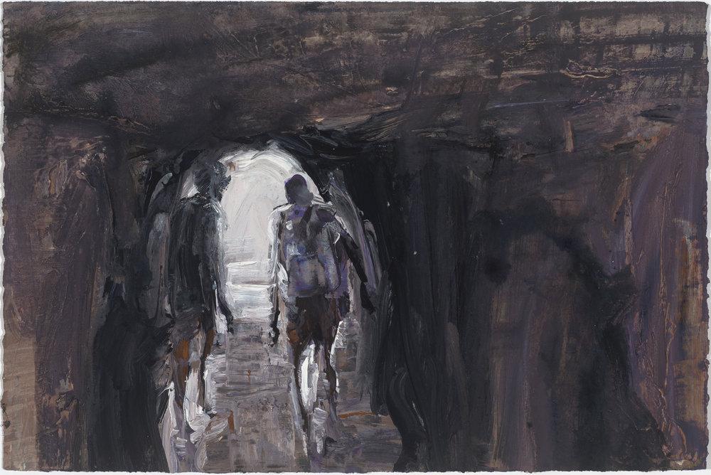 Cave study (Towards light) 10/16  洞穴(走向光明) 10/16   Euan Macleod , 2016  Acrylic on paper, 38 x 58 cm, HKD 14,800 framed