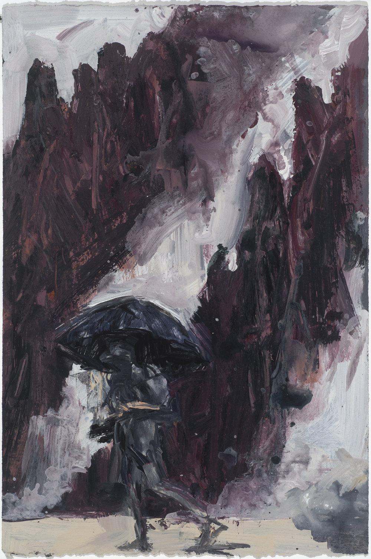 Umbrella & mist study  傘與霧考察   Euan Macleod , 2016  Acrylic on paper, 58 x 38 cm, HKD 14,800 framed