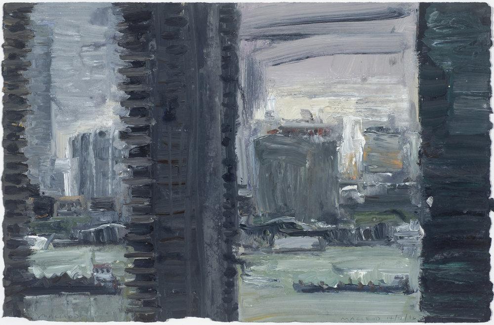 Shanghai buildings 1 14/10/16  上海大廈(1)14/10/16   Euan Macleod , 2016  Acrylic on paper, 38 x 58 cm, AUD 14,800 framed