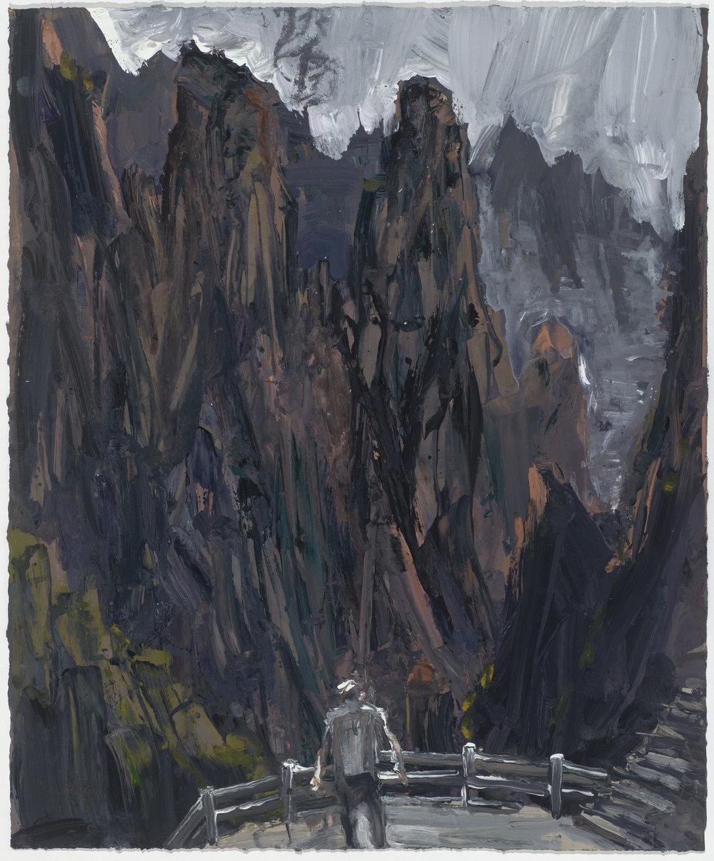 Dark mountains  暗黑的山嶺   Euan Macleod , 2016  Acrylic on paper, 80 x 66 cm, HKD 26,300 unframed