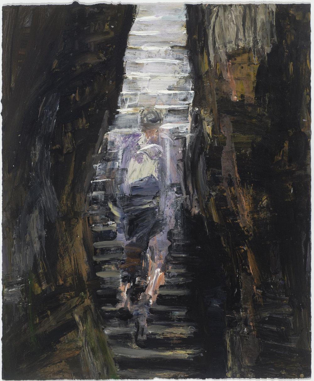 Climbing (internal) stairs  攀爬(穴內的)樓梯   Euan Macleod , 2016  Acrylic on paper, 80 x 66 cm, HKD 29,300 framed
