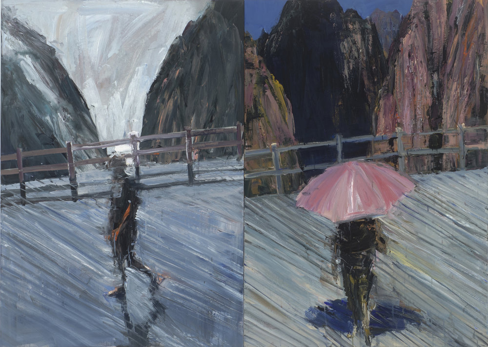 Diptych (from Hotel)  雙聯畫(來自《酒店》)   Euan Macleod , 2016  Acrylic on polyester, 120 x 168 cm, HKD 163,500