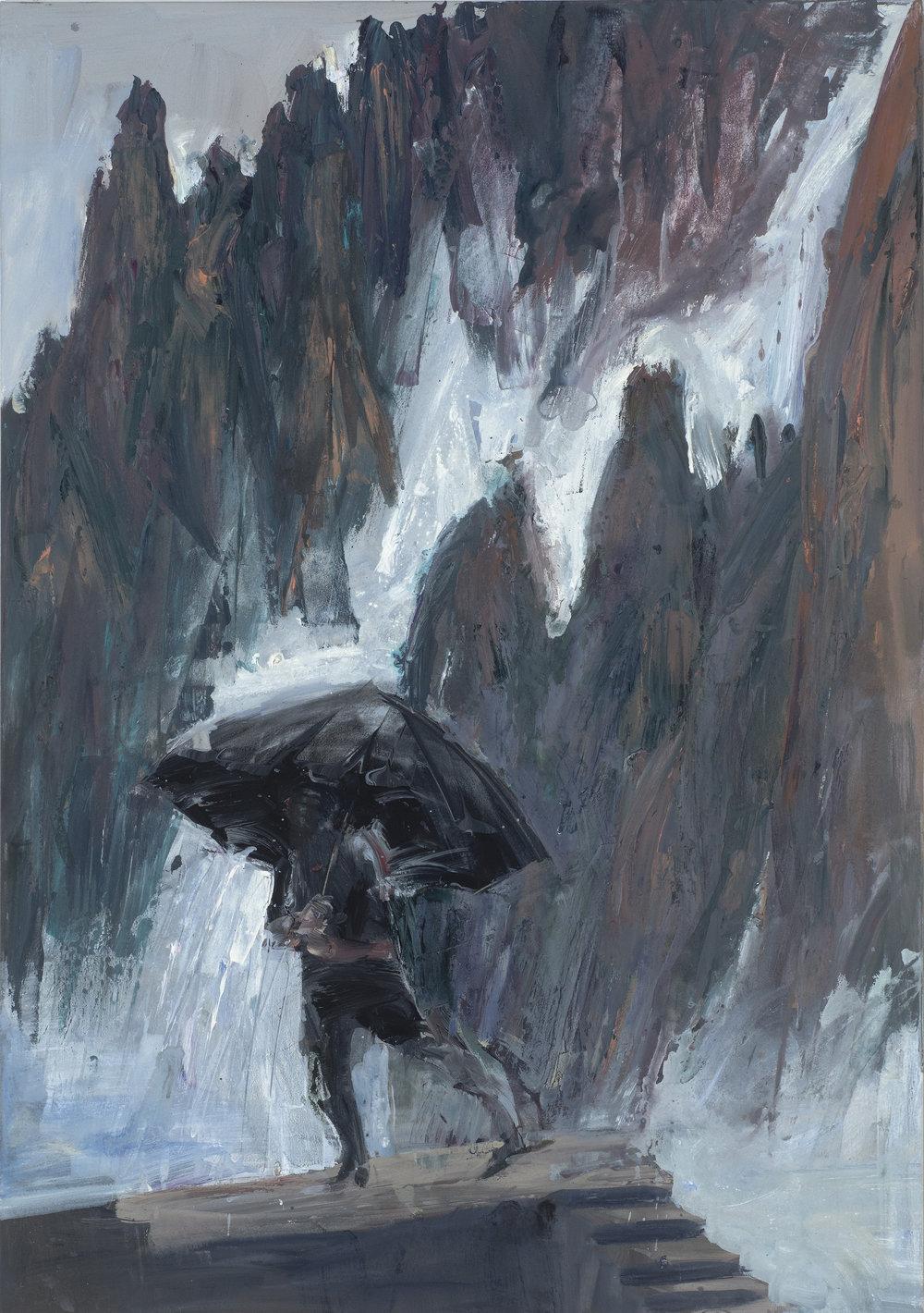 Black umbrella Yellow Mountain  黑傘在黃山中   Euan Macleod , 2016  Acrylic on polyester, 120 x 84 cm, HKD 93,400