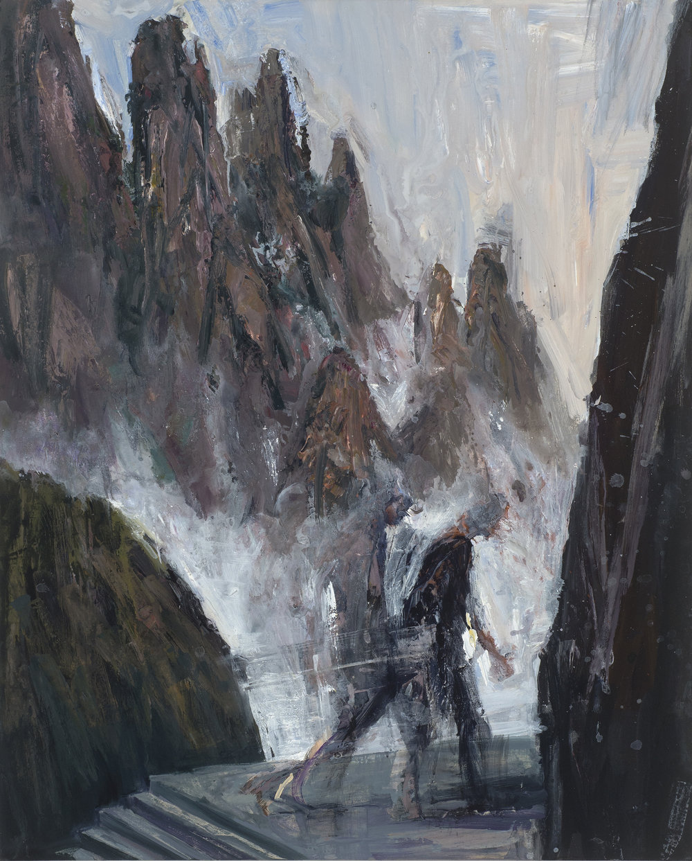 Figures & mountains in mist  霧中的人與山   Euan Macleod , 2016  Acrylic on polyester, 124 x 100 cm, HKD 113,800