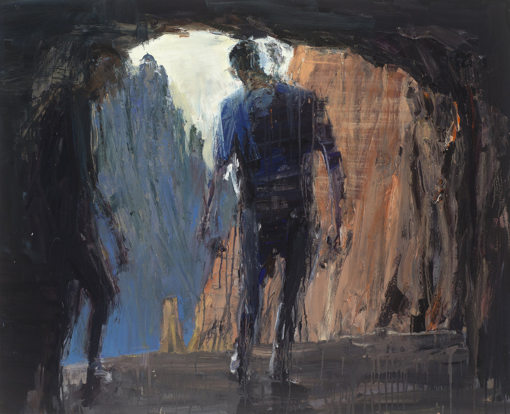 2 at cave exit  在穴口的兩人   Euan Macleod , 2016  Oil on acrylic on polyester, 100 x 124 cm, HKD 113,800