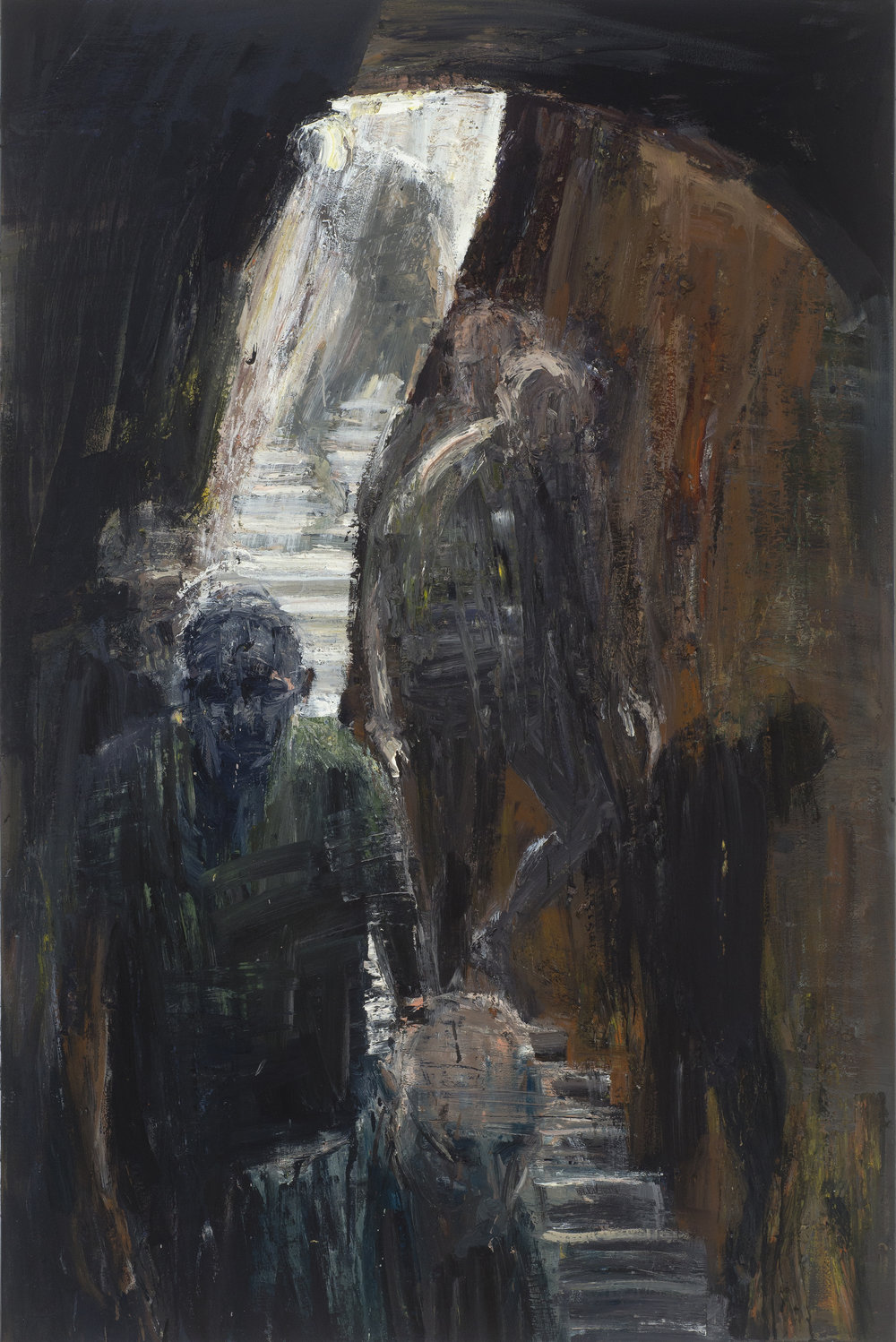 Figures going down in cave 進洞穴的人   Euan Macleod , 2016  Oil on polyester, 167 x 111 cm, HKD 157,600