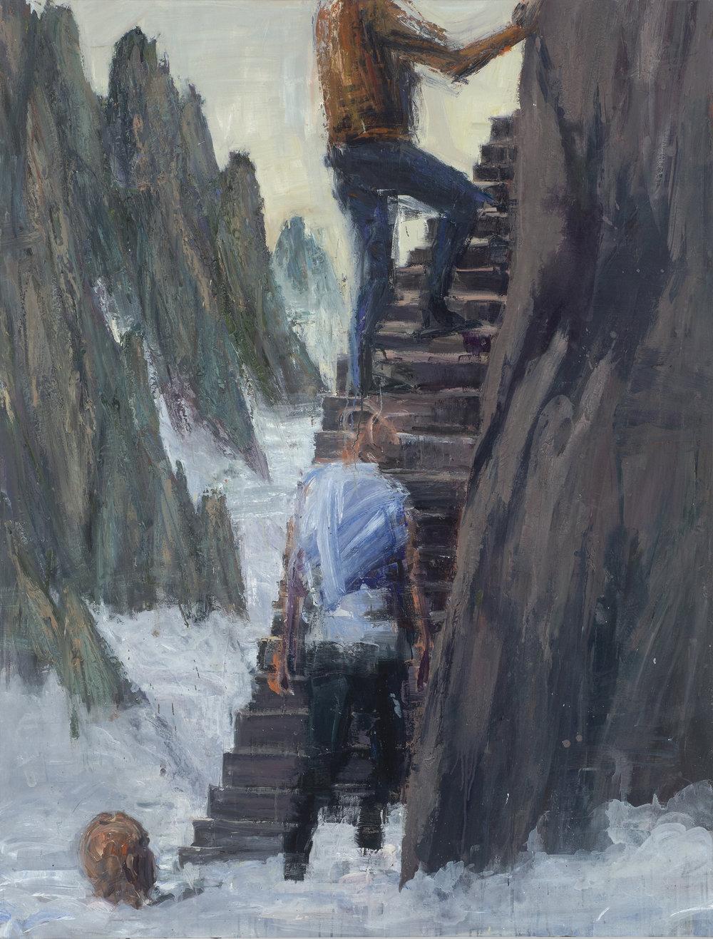 Climbing out of mist 在霧中拾級而上   Euan Macleod , 2016  Oil on acrylic on polyester, 18 x 137 cm, HKD 189,800