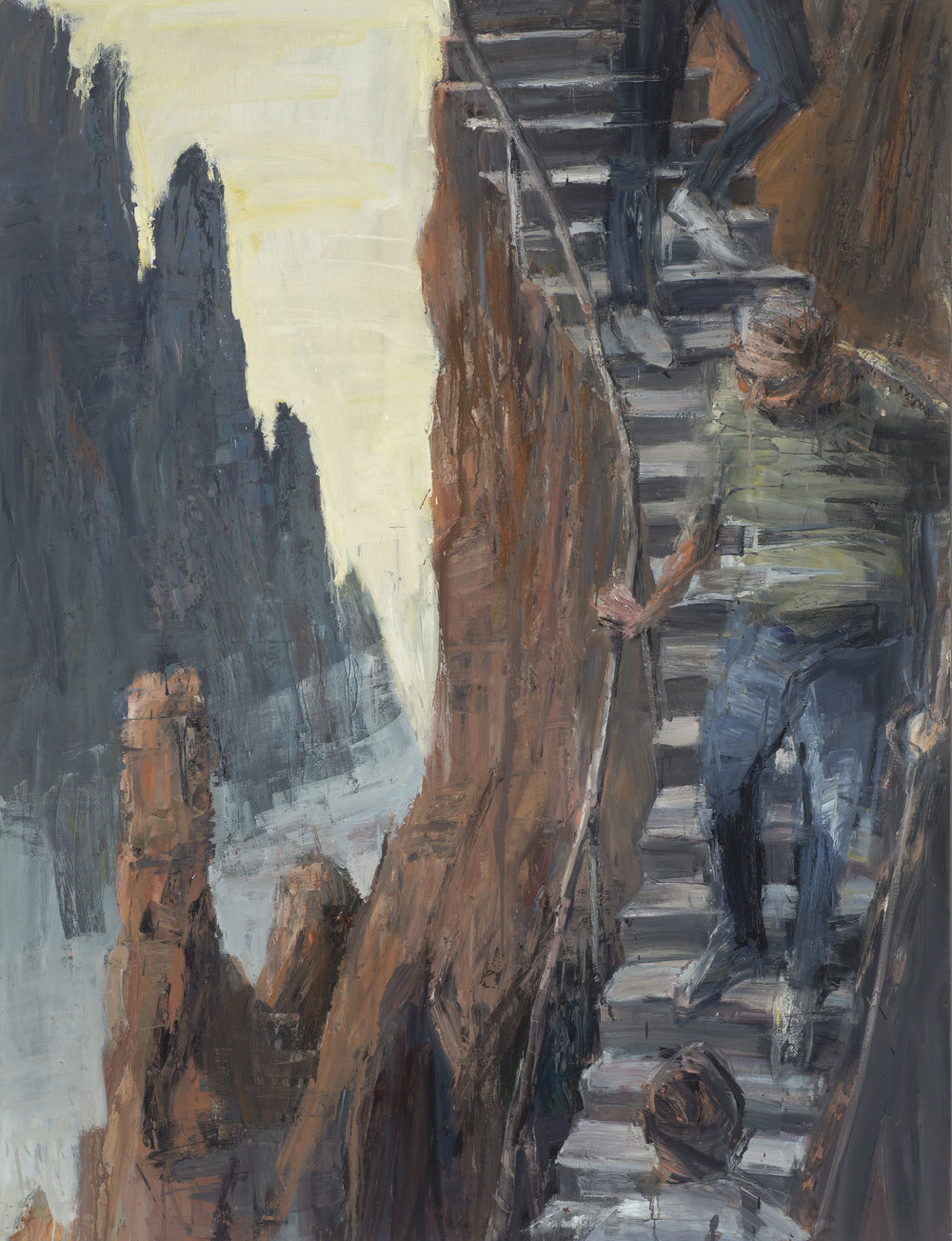 Self portrait? Going Down  自畫像? 沿路往下   Euan Macleod , 2016  Oil on polyester, 180 x 137 cm, HKD 189,800