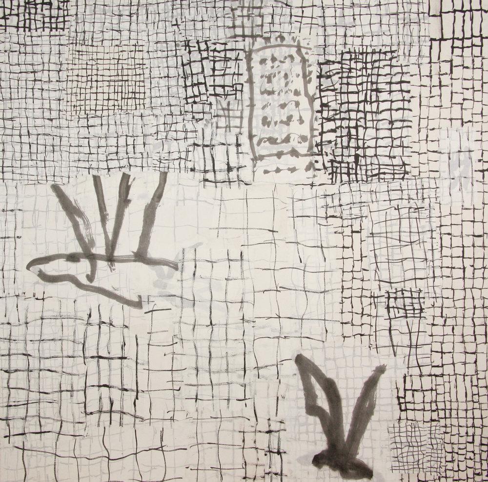 Ana Pollak_No where to go 1_110cmx110cm_ ink on ricepaper collage_2018.jpg