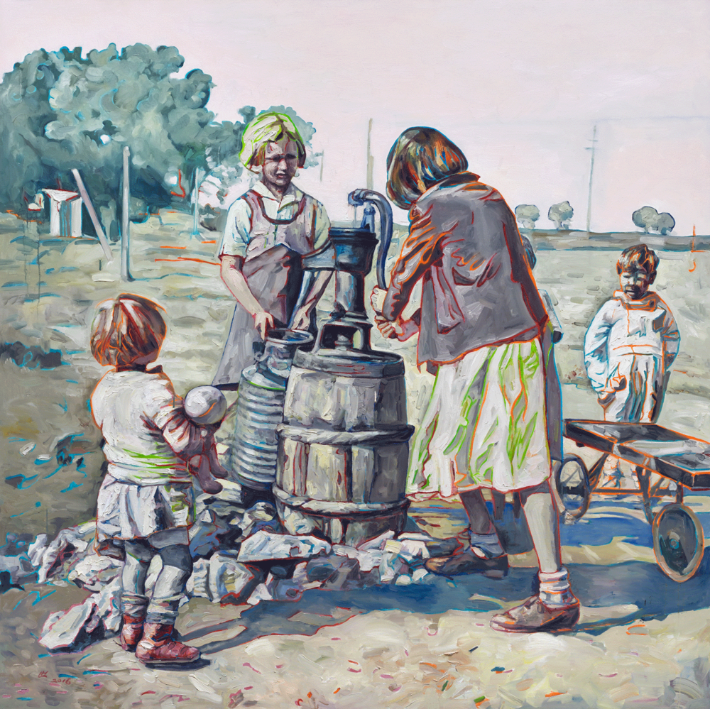 Fetching Water II, 2016, Oil on canvas, 80 x 80 inches