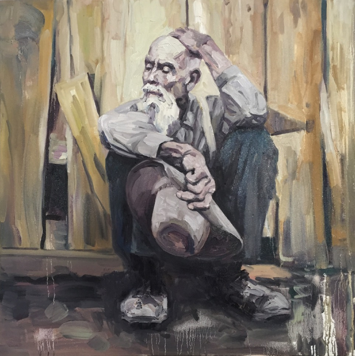 Working Man II, 2016, Oil on canvas, 36x36 Inches