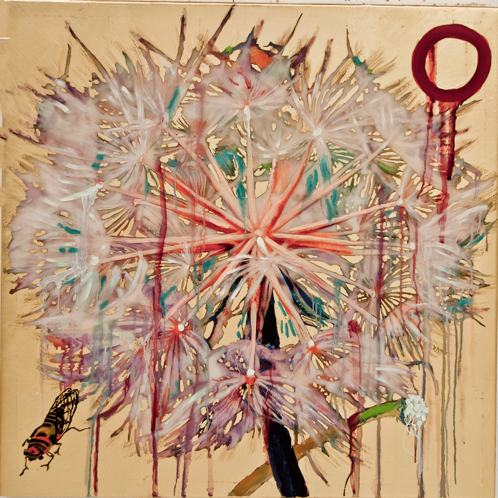 Dandelion and Cicada,  2017, Mixed Media, 36 x 36 Inches
