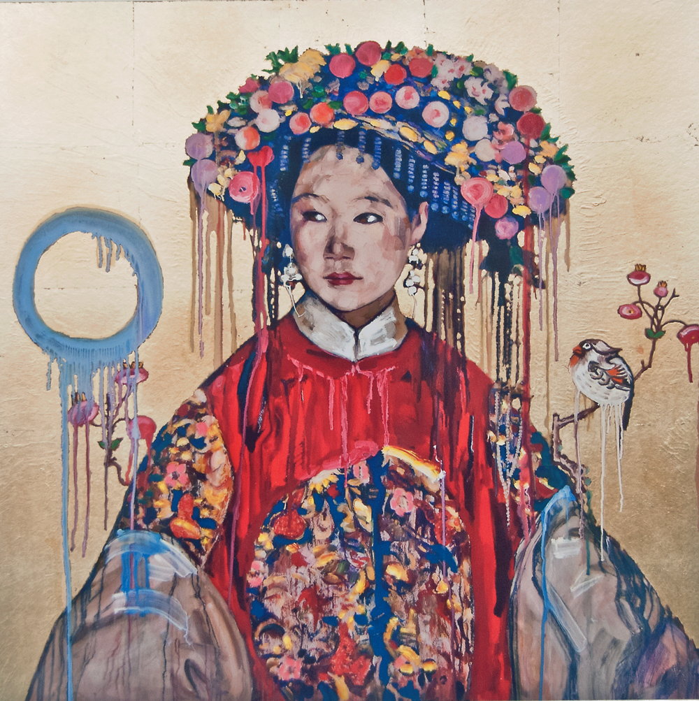 Manchu Bride – Gold Edition, 2017, Monotype with hand leafing and hand coloring, Edition of 4 5/9, 20.5 x 20.5 Inches