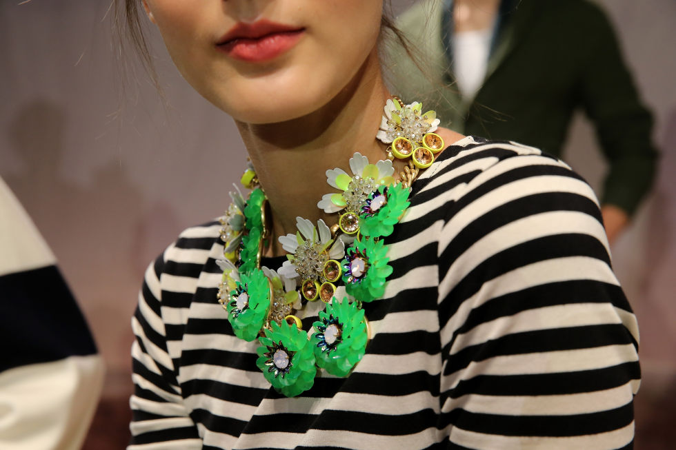 As seen on the runway in New York Fashion Week, this statement necklace is from J.Crew. Photo credits to Elle.com.   So what are you waiting for? Pack up your bags and head out for a fashionable vacation! Stay tuned to the blog for more of our favorite fashion trends and summer must-haves!