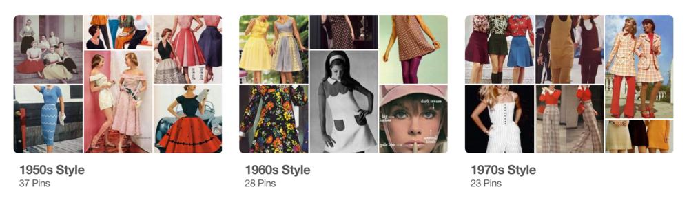 1940s Style Board      1960s Style Board      1970s Style Board      1980s Style Board      1990s Style Board