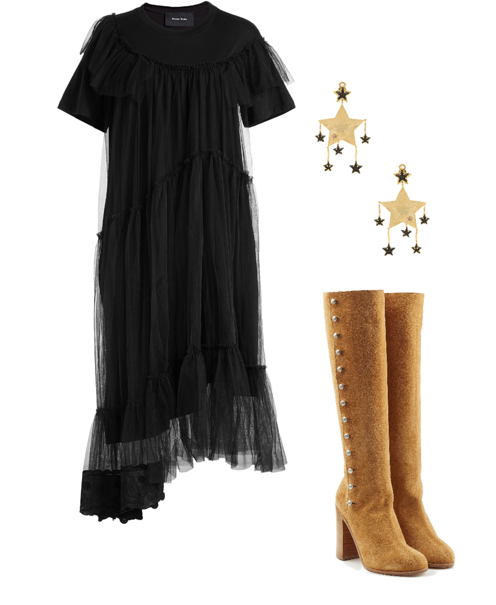 This look is a take on Stevie's iconic gothic style--a black ethereal dress paired with celestial earrings are chic and edgy, and a pair of heeled, knee-high boots in a contrasting suede finish the look in a classic Stevie way. No matter her ensemble, knee-high boots are often a big component.   Stevie is also known for mixing and matching textiles and textures. If there's one thing we can take away from her style, it's to stop stressing about being so matchy-matchy!