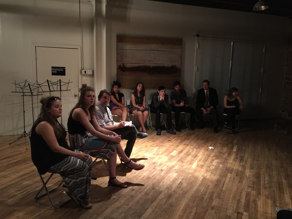 Connectivity Director, Hayley Sherwood, moderating a post-show discussion with STUPID, FAT, UGLY playwright, Dave Osmundsen, Director, Megan Milko, and the cast of the reading at Chez Bushwick.