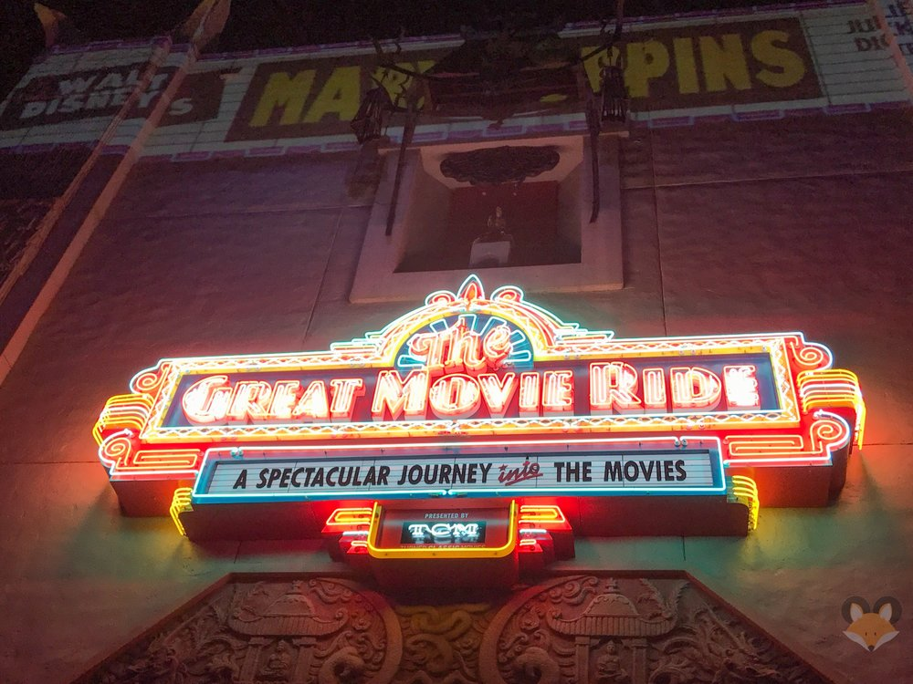 """On Sunday night the neon marquee had a lower portion that said """"Presented by TCM"""""""