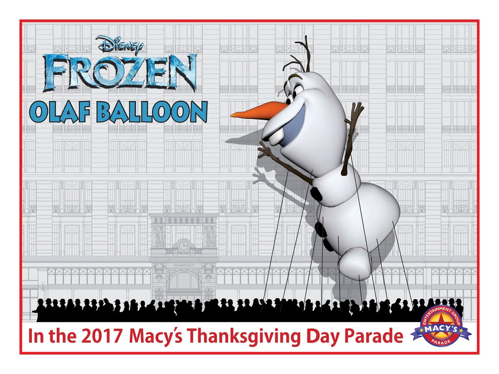 The official rendering released by Macy's of Olaf