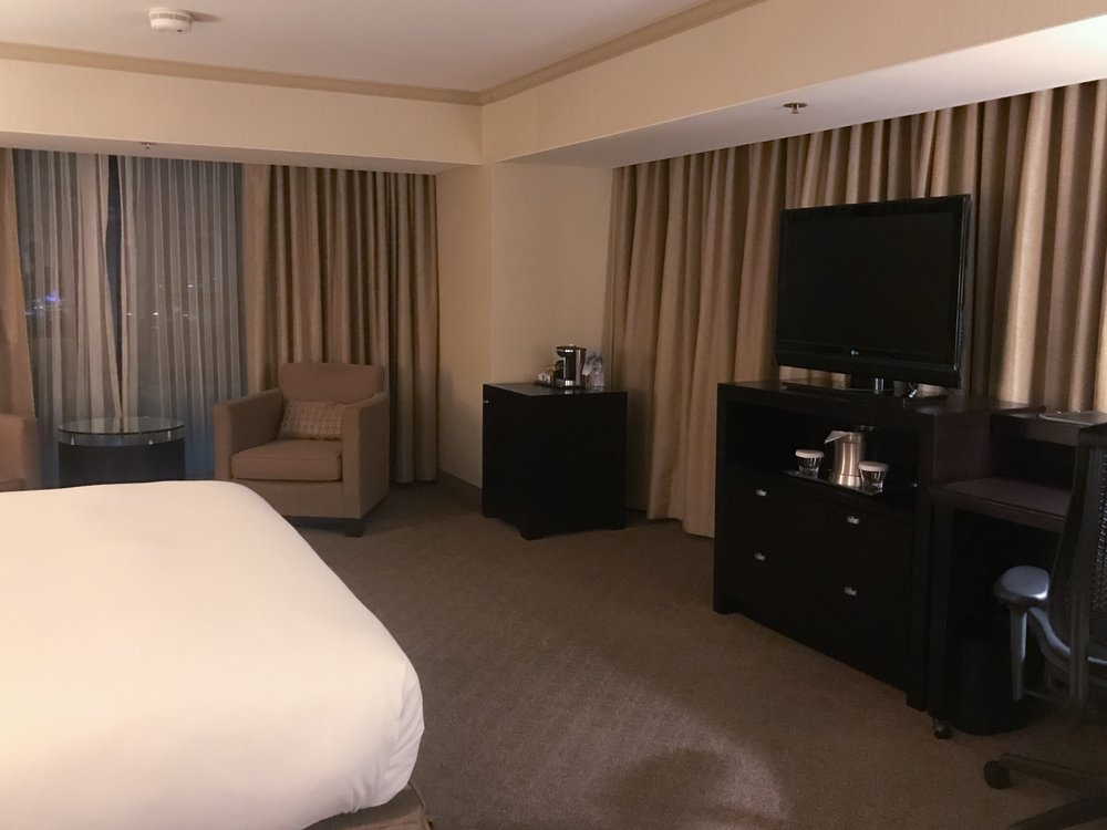 Our room was situated with a large open layout that included a casual sitting area with windows that overlooked the Disneyland Resort
