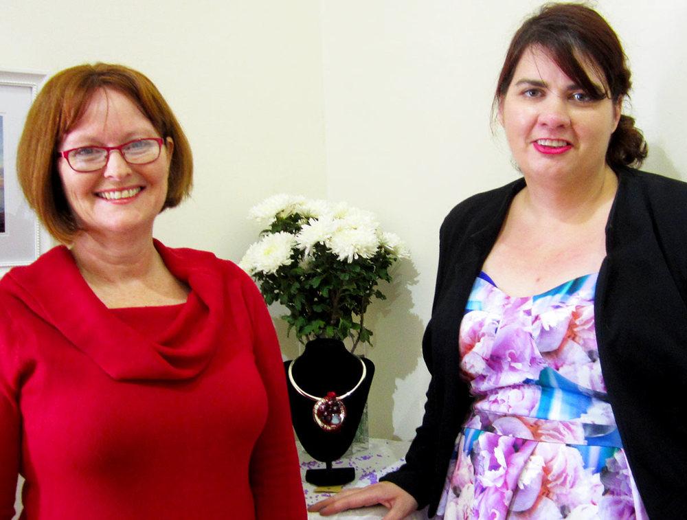 Gawler Mayor Karen Redman with Kimberley and one of her exhibits