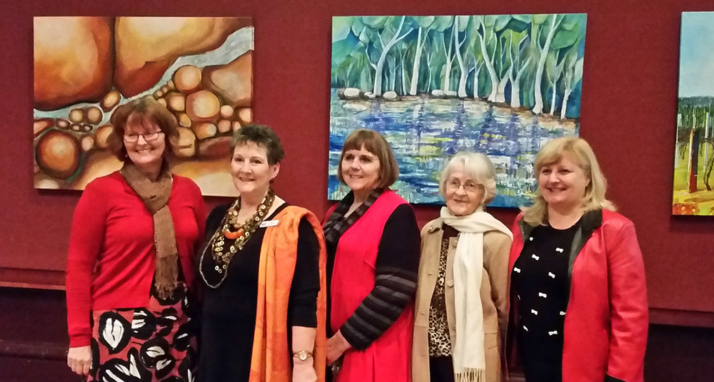 L to R: Mayor of Gawler, Karen Redman, GBDG Chair Louise Drummond, 'Collective Edge' convenor and artist Barbara Palmer, Gawler Community Gallery Vice President Joanne Hughes, and GBDG Marketing Coordinator Caren Brougham