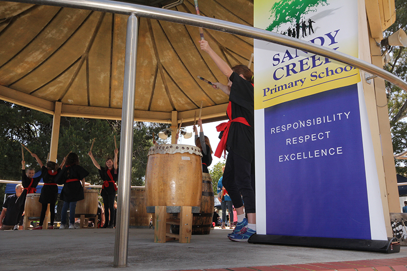 The Sandy Creek Primary School took to their drums at the Village Fair rotunda